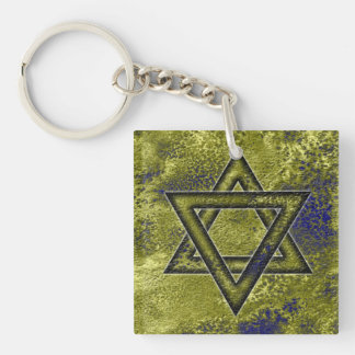 Jewish Gift, Star of David Double-Sided Square Acrylic Key Ring