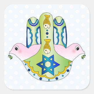 Jewish Hamsa Square Sticker