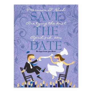 Jewish Hora Chair Dance Wedding Save the Date 11 Cm X 14 Cm Invitation Card