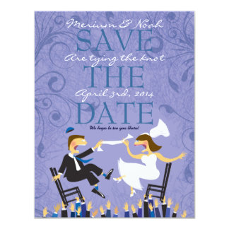 Jewish Hora Chair Dance Wedding Save the Date Card