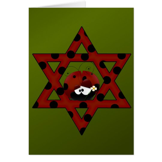 Jewish Ladybug Star of David Card