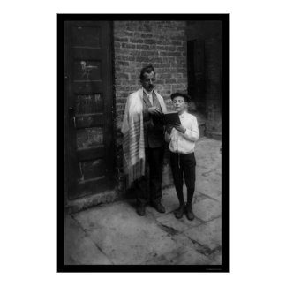Jewish Man and Boy with a Bible in New York 1907 Poster