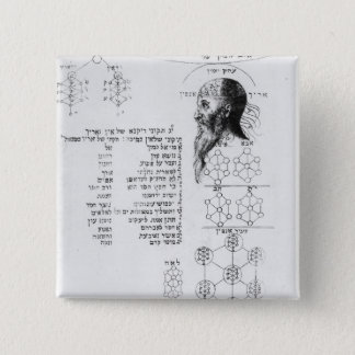 Jewish manuscript illustrating phrenology 15 cm square badge