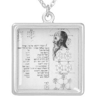 Jewish manuscript illustrating phrenology silver plated necklace