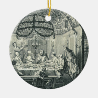 Jewish Meal During the Feast of the Tabernacles, i Round Ceramic Decoration