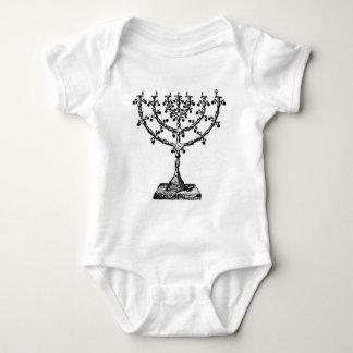 Jewish menorah baby bodysuit