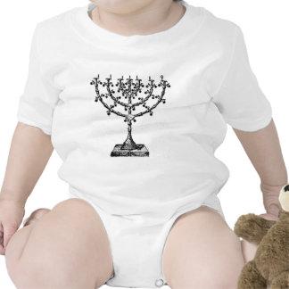 Jewish menorah baby bodysuits