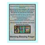 Jewish Morning Blessing Prayer Batik Hamsa Post Card