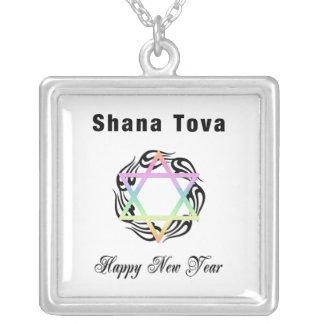Jewish New Year Shana Tova Silver Plated Necklace