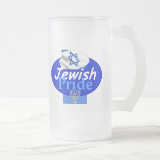 JEWISH PRIDE FROSTED GLASS BEER MUG