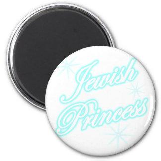 Jewish Princess bright blue 6 Cm Round Magnet
