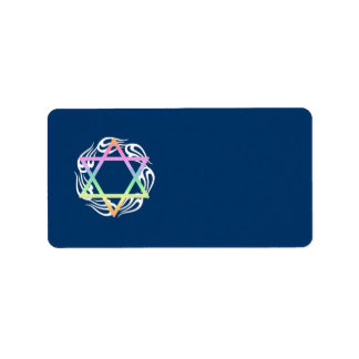 Jewish Star Colors Address Label