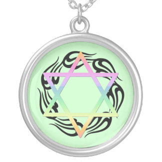 Jewish Star Colors Round Pendant Necklace