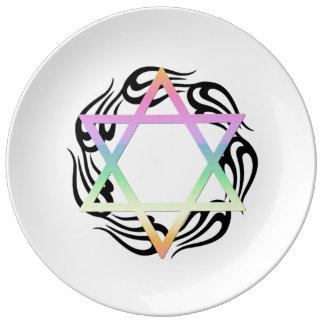Jewish Star Colors Porcelain Plate