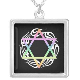 Jewish Star Colors Square Pendant Necklace