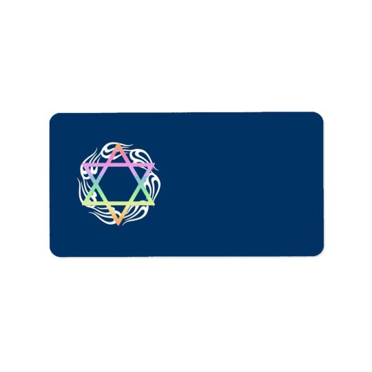 Jewish Star Colours Address Label