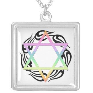 Jewish Star Colours Square Pendant Necklace