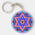 Jewish Star of David Basic Round Button Key Ring