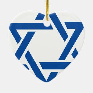 Jewish Star of David Blue Ceramic Heart Decoration