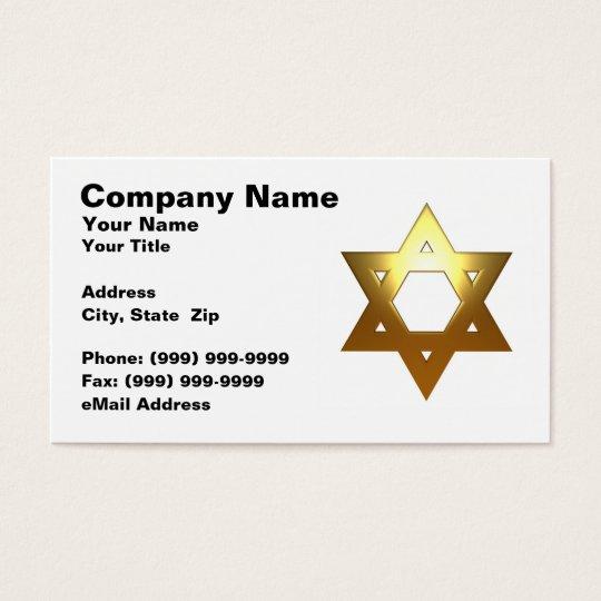 Jewish Star of David (Gold) Business Card
