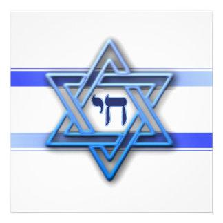Jewish Star Of David Hebrew Chai Blue and White Invitations