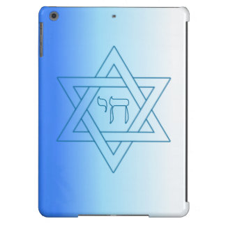 Jewish Star Of David Hebrew Chai Blue and White iPad Air Cases