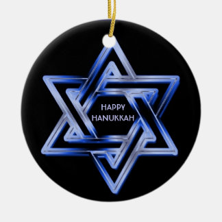 Jewish Star of David Shines Happy Hanukkah Round Ceramic Decoration