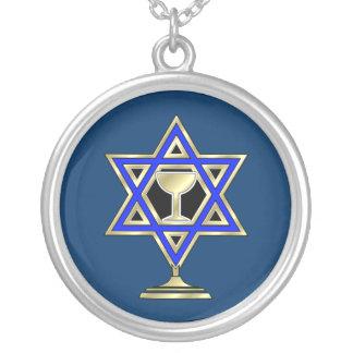 Jewish Star Round Pendant Necklace
