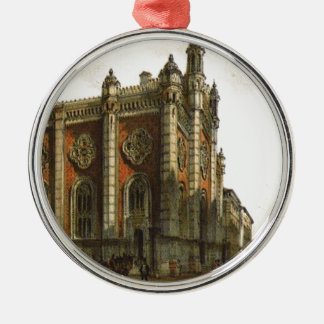 Jewish temple in the city Leopold by Rudolf vonAlt Silver-Colored Round Decoration