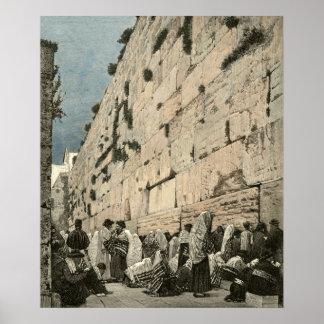 Jewish Wailing Wall Kotel Buraq Jerusalem Vintage Poster