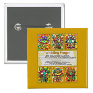 Jewish Wedding Prayer Golden Hamsa Pins