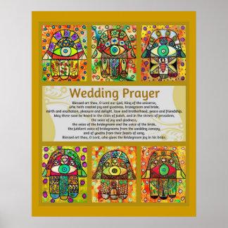 Jewish Wedding Prayer Golden Hamsa Poster