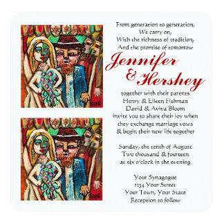 Jewish Wedding Under The Chuppah (rounded) 13 Cm X 13 Cm Square Invitation Card
