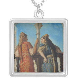 Jewish Women at the Balcony, Algiers, 1849 Silver Plated Necklace