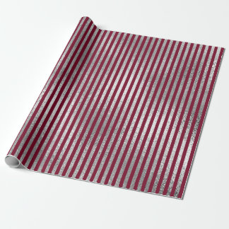 Jewlery Stripes Maroon Burgundy Silver Vip Wrapping Paper