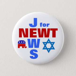 Jews for Newt 6 Cm Round Badge