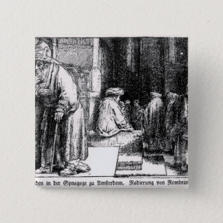 Jews in the Synagogue in Amsterdam 15 Cm Square Badge
