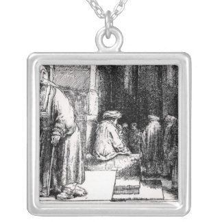 Jews in the Synagogue in Amsterdam Silver Plated Necklace