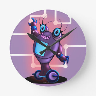 JEZEL ROBOT CARTOON CLOCK FUNNY MEDIUM ROUND