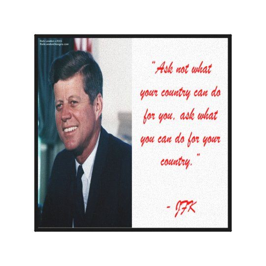 JFK & Ask Not Quote Canvas Print