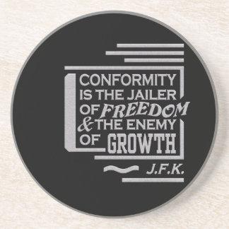 JFK quote coaster