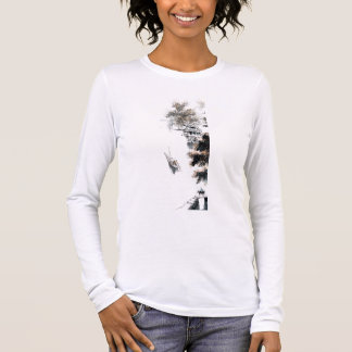 Jiangnan Scenic Chinese Landscape Brush Painting Long Sleeve T-Shirt