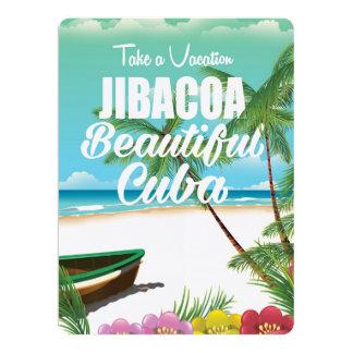 Jibacoa Cuba beach vacation poster 17 Cm X 22 Cm Invitation Card