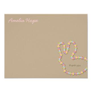 Jigsaw Bunny Pink Thank You Custom (R) Note Card 11 Cm X 14 Cm Invitation Card