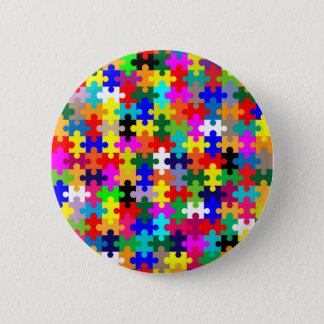Jigsaw Pieces In Colour 6 Cm Round Badge