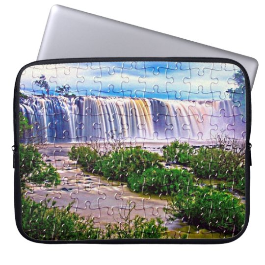Jigsaw puzzle effect waterfall laptop sleeve