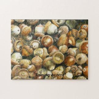 Jigsaw Puzzle of a field of fallen Acorns
