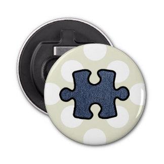 Jigsaw Puzzle Piece, Denim (Twill Textile) - Blue Bottle Opener