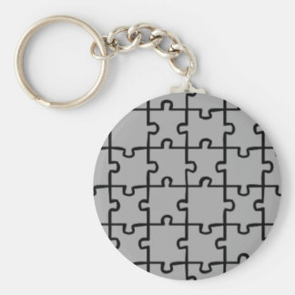 Jigsaw Puzzle Pieces Pattern 4 Basic Round Button Key Ring