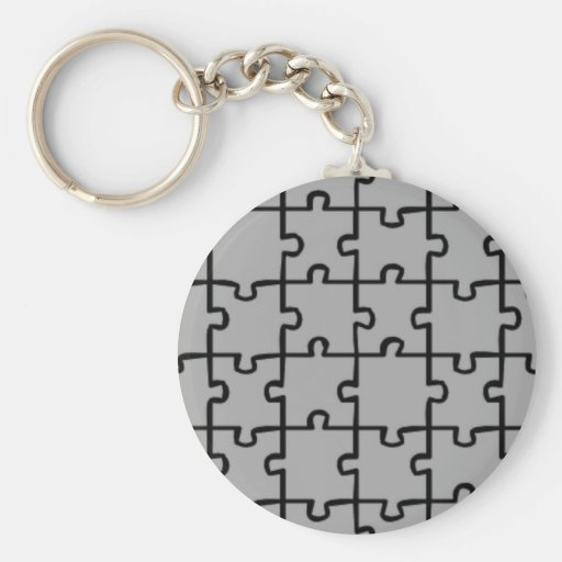 Jigsaw Puzzle Pieces Pattern 4 Keychains